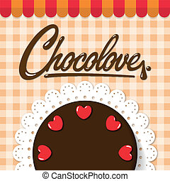 Chocolate cake on bakery background
