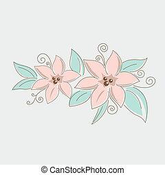 dessin, floral, Bouquet