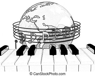 Pencil drawing of a Global Music. Isolated on white...