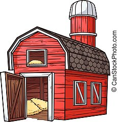Cartoon barn - Red cartoon barn Vector clip art illustration...