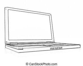 Pencil drawing of a Laptop on a white background