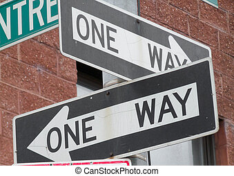 One way - two road signs for One way streets