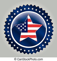 president day - a blue round icon with a big star with the...