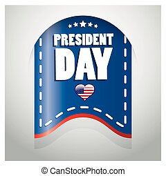 president day - a blue icon with some white text and a heart...