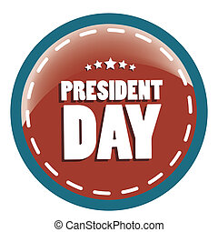 president day - a red icon with blue borders and white text...