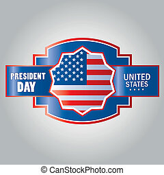 president day - a blue icon with red borders with some text...