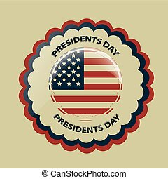 president day - a round colored icon with the american flag...