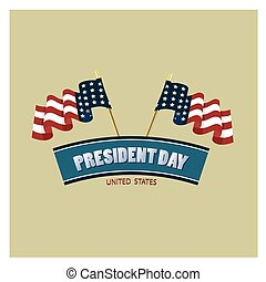 president day - a pair of american flags and a ribbon with...