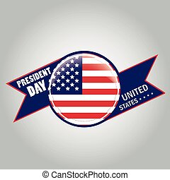 president day - a round icon with the american flag and a...