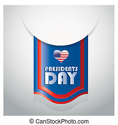 president day - a blue icon with some white text, red...