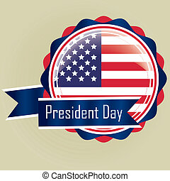 president day - a colored round icon with the american flag...