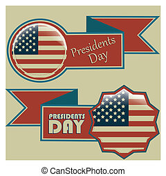 president day - a pair of colored icons with the american...