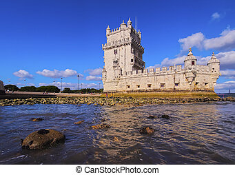 Belem Tower in Lisbon - Tower of St Vincent in Belem,...