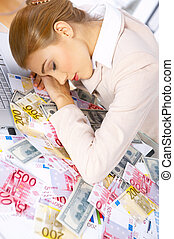 Business Woman in Office - Tired business woman sleeping on...
