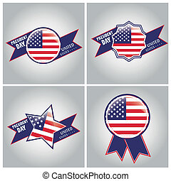 president day - four different colored icons with shapes and...