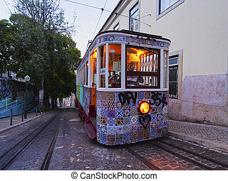 Funicular in Lisbon - Funicular going up the Calcada da...