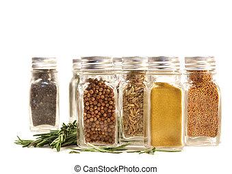 feuilles, contre, frais, blanc, romarin, Pots, Épice