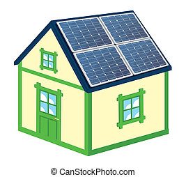 House with solar panels - Vector illustration of the house...