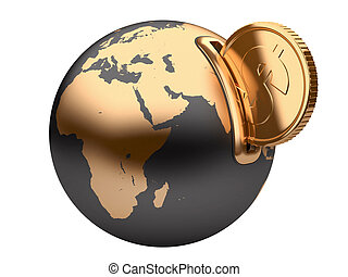 earth moneybox and golden dollar coin - moneybox in the form...