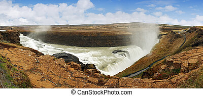 Panorama - Gullfoss waterfall , Iceland - Gullfoss waterfall...