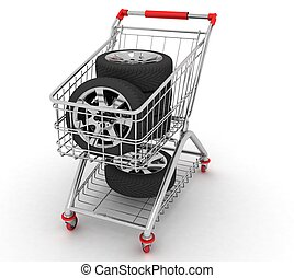 3D Shopping cart with wheels. Conception of purchase of...