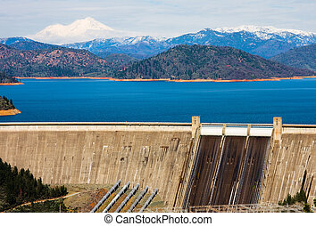 Shasta Dam and Shasta Mountain in California