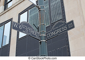 Sign for West 6th Street and Congress Avenue in Austin,...