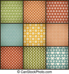 Vintage summer vector seamless patterns with swath, tiling...