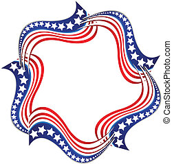 American flags illustration logo - American flags...
