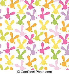 Colorful seamless patern with easter bunny Vector - Colorful...