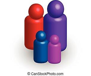 Family 3 D vector icon symbol logo - Family symbolic...
