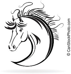Horse stylized sketch icon vector - Vector image of a horse...