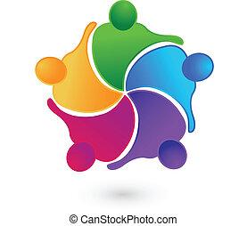 Teamwork concepts logo - Vector teamwork concept of...