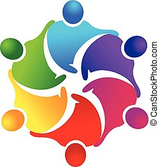 Teamwork Business people logo - Vector of teamwork handshake...