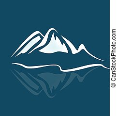 Mountains logo - Mountains with reflection water in blue...