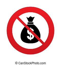 No Money bag sign icon. Dollar USD currency. - No Money bag...