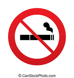 No Smoking sign icon. Cigarette symbol. Red prohibition...