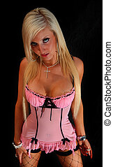 Girl In Pink Lingerie - An image of a girl in pink underwear...