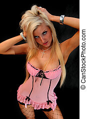 Blond In Pink Lingerie - An image of a girl in pink...