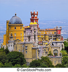 Pena National Palace and Park in Sintra - Palacio Nacional...