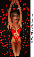 Girl In Red - An image of a blond girl in red underwear with...