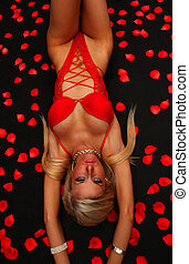 Lady In Red - An image of a blond girl in red underwear with...