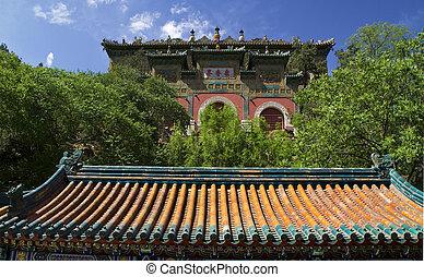 Beijing, palota, nyár, hosszú élet, kína, hegy, kapu
