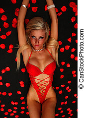 Lady In Red Pose - An image of a blond girl in red underwear...