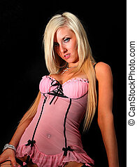 Pretty In Pink Lingerie - Portrait of an attractive young...