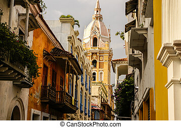 Spanish colonial house. Cartagena de Indias, Colombia's...