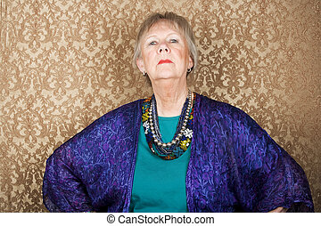 Snooty Senior Woman - Portrait of snooty senior woman in...