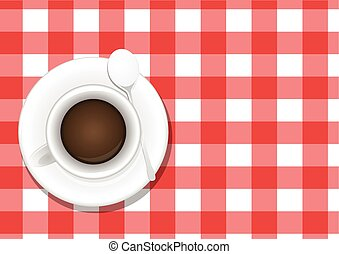 coffee table - illustration of coffee cup, view from above