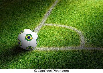 Soccer ball in field corner - Sports background - soccer...