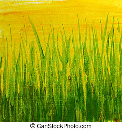grass - green yellow grunge painted texture